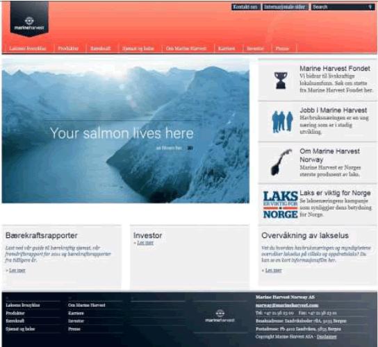 Marine Harves Noruega página de inicio