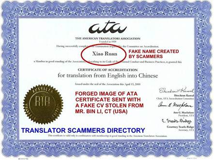 TRANSLATOR SCAMMERS DIRECTORY  NOTES ABOUT